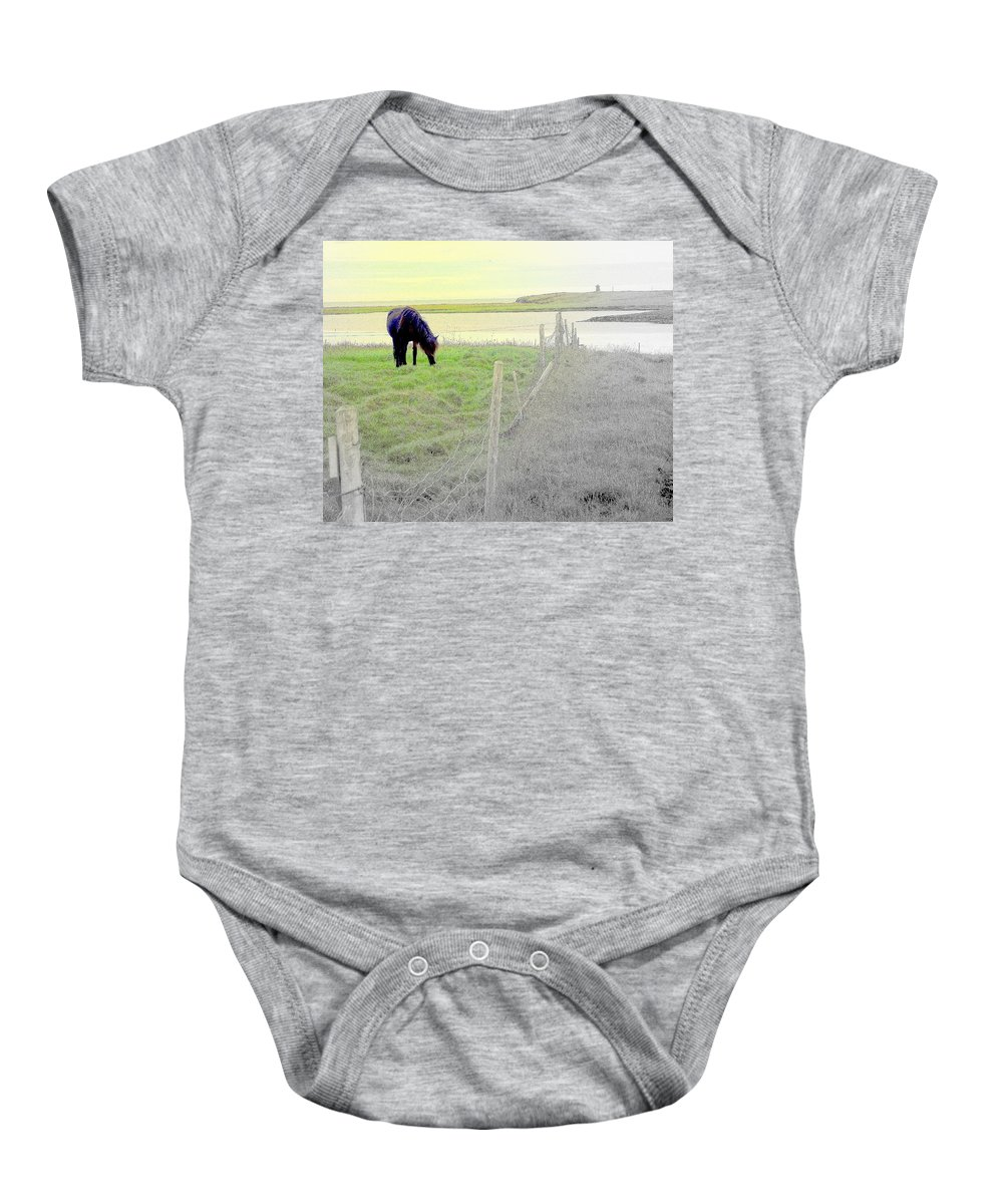 Iceland Baby Onesie featuring the photograph The Long Green Fields Back Home by Hilde Widerberg