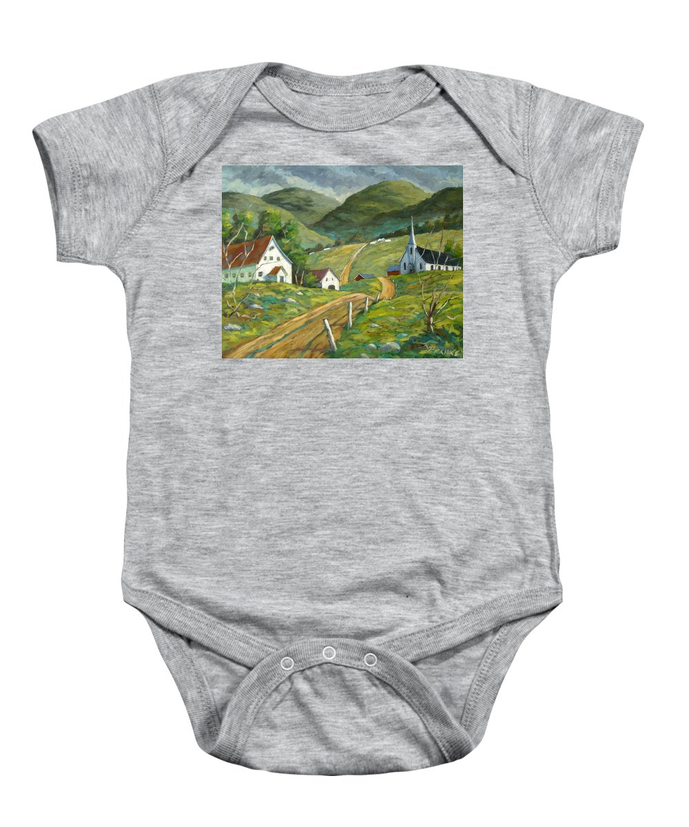 Hills Baby Onesie featuring the painting The Green Hills by Richard T Pranke