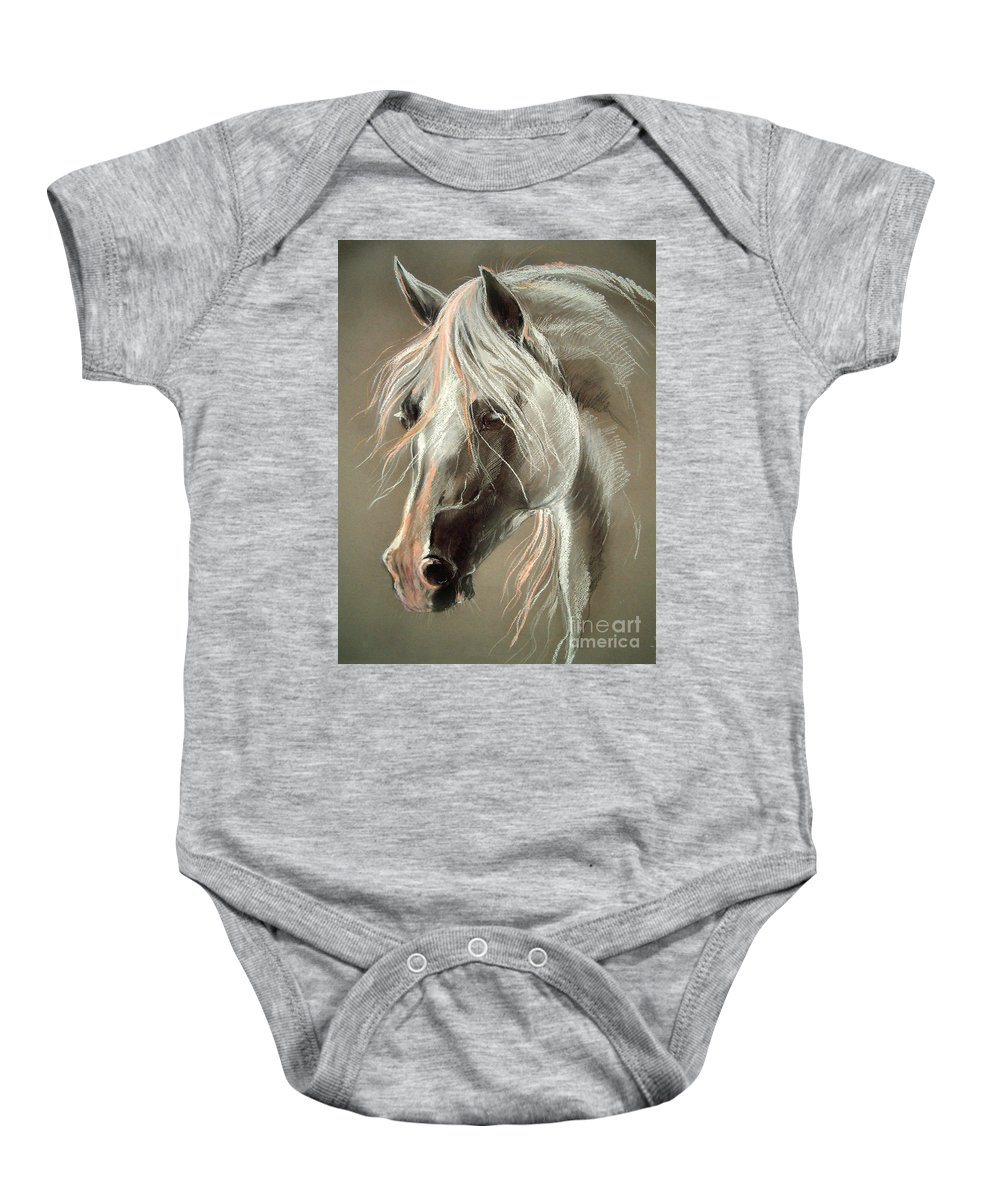 Pastel Baby Onesie featuring the drawing The Grey Horse Soft Pastel by Angel Ciesniarska