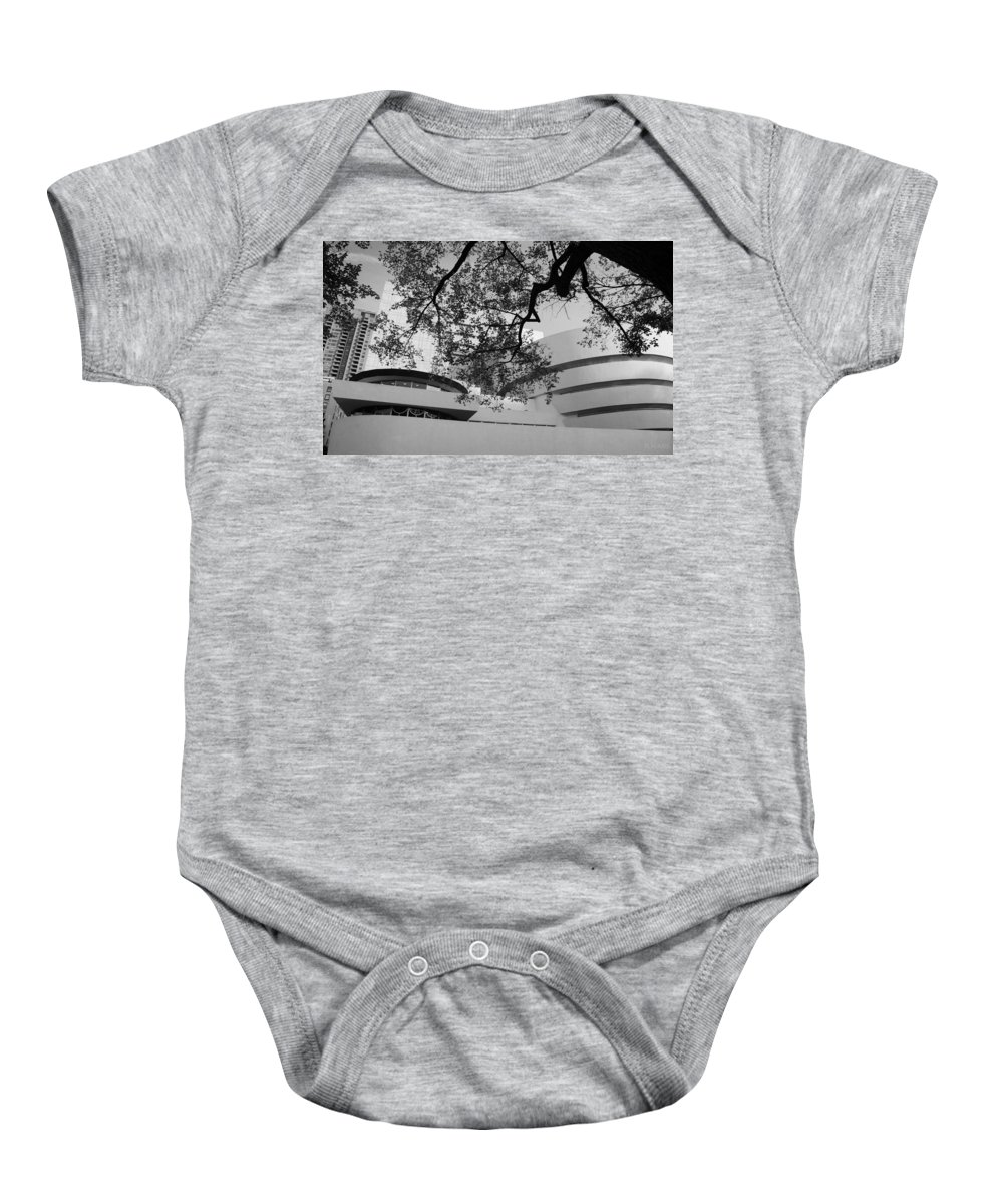 Scenic Baby Onesie featuring the photograph The Gugenheim In Black And White by Rob Hans