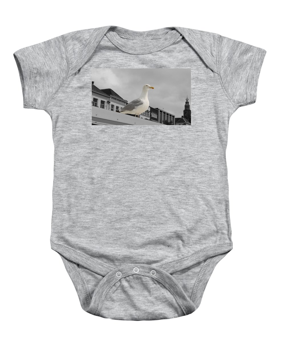 Gull Seagull Black White Bw Color Digital Art Town Roof Bird Animal Baby Onesie featuring the photograph The Gull by Steve K