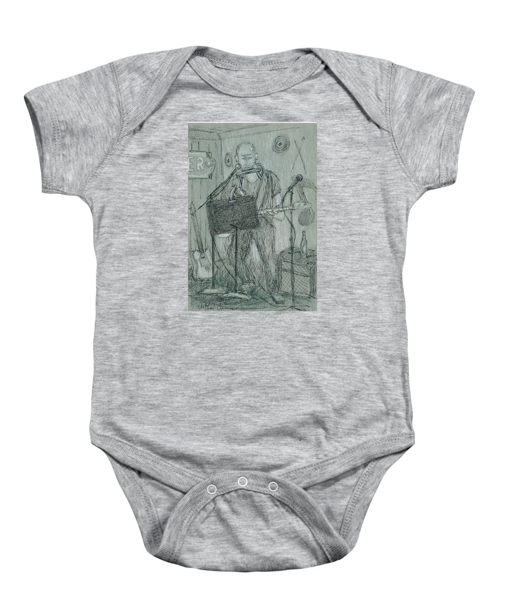 Musician Baby Onesie featuring the drawing The Harp Player by Arthur Barnes