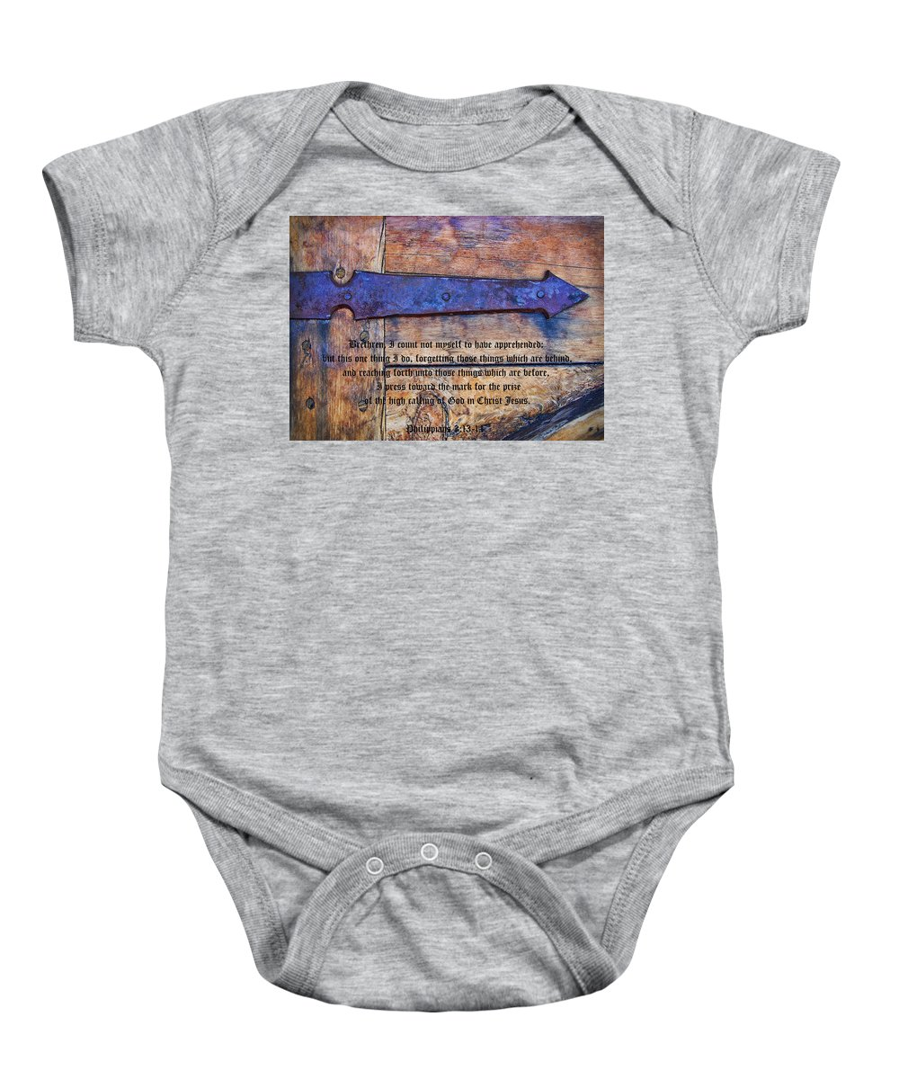Medieval Baby Onesie featuring the photograph The High Calling Of God In Christ Jesus by Kathy Clark