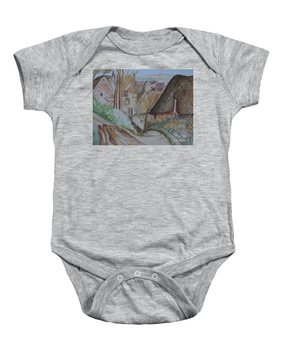 La Maison You Pendu Auvers-sur Oise After Cezanne Baby Onesie featuring the painting The House Of The Hanged Man After Cezanne by Caroline Street