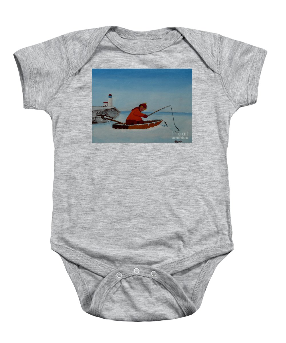 Stupid Baby Onesie featuring the painting The Ice Fisherman by Anthony Dunphy