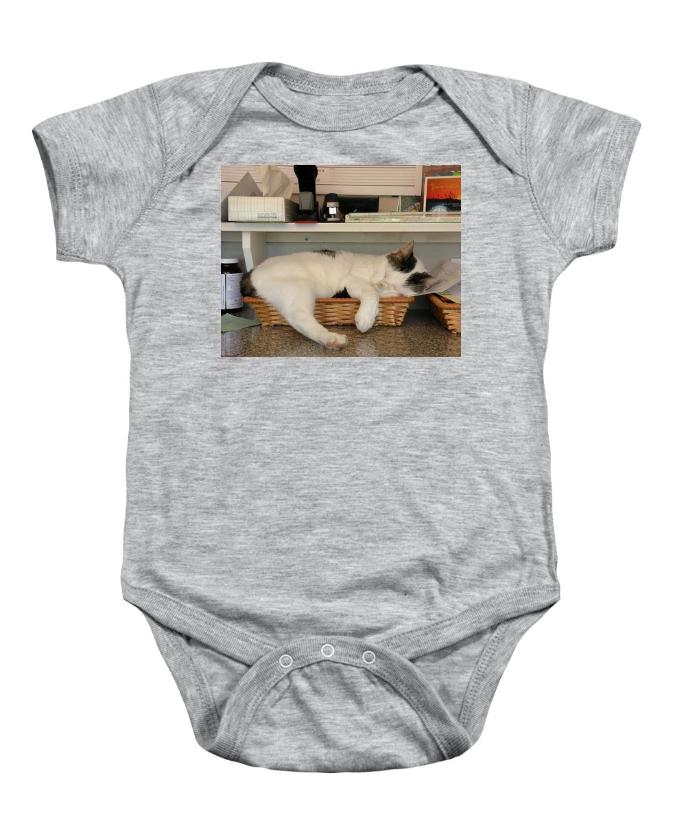 Cat Baby Onesie featuring the photograph The In Box Is Full - At Good Earth Market - Clarkville Delaware by Kim Bemis