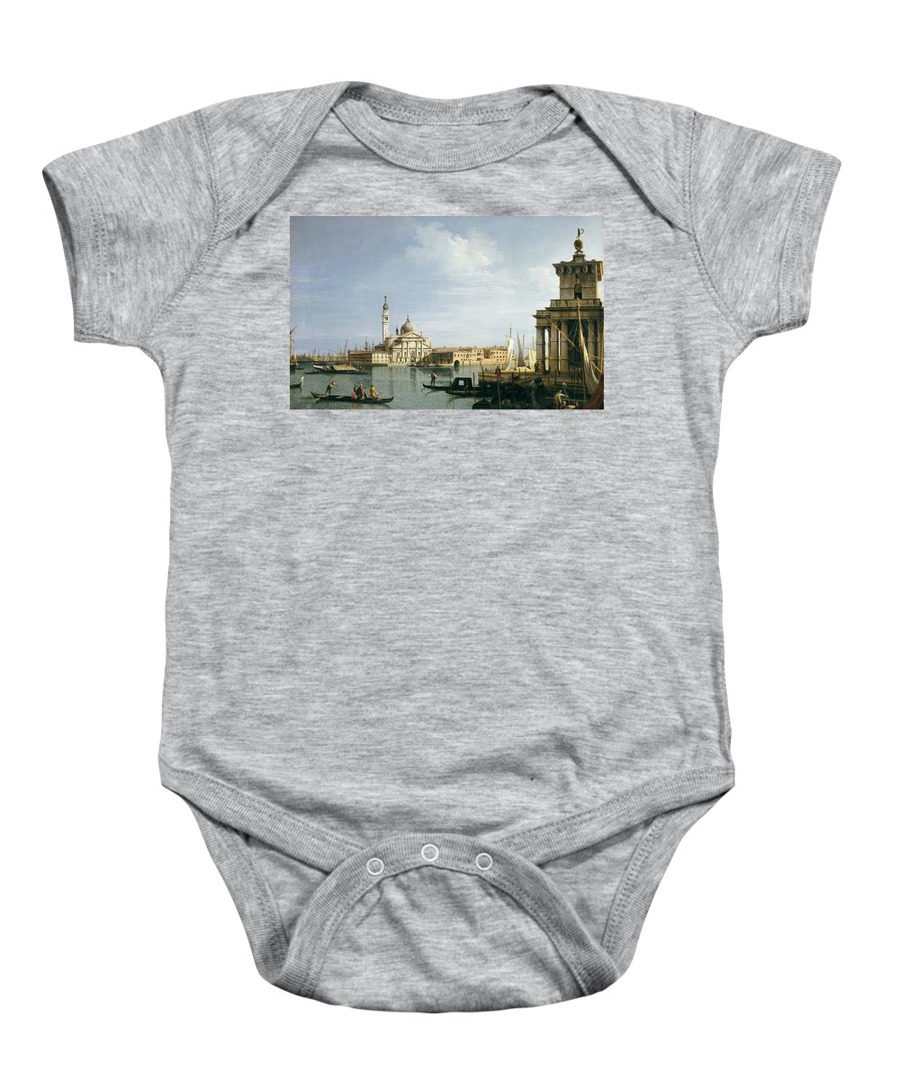 Venice Baby Onesie featuring the painting The Island Of San Giorgio Maggiore by Canaletto