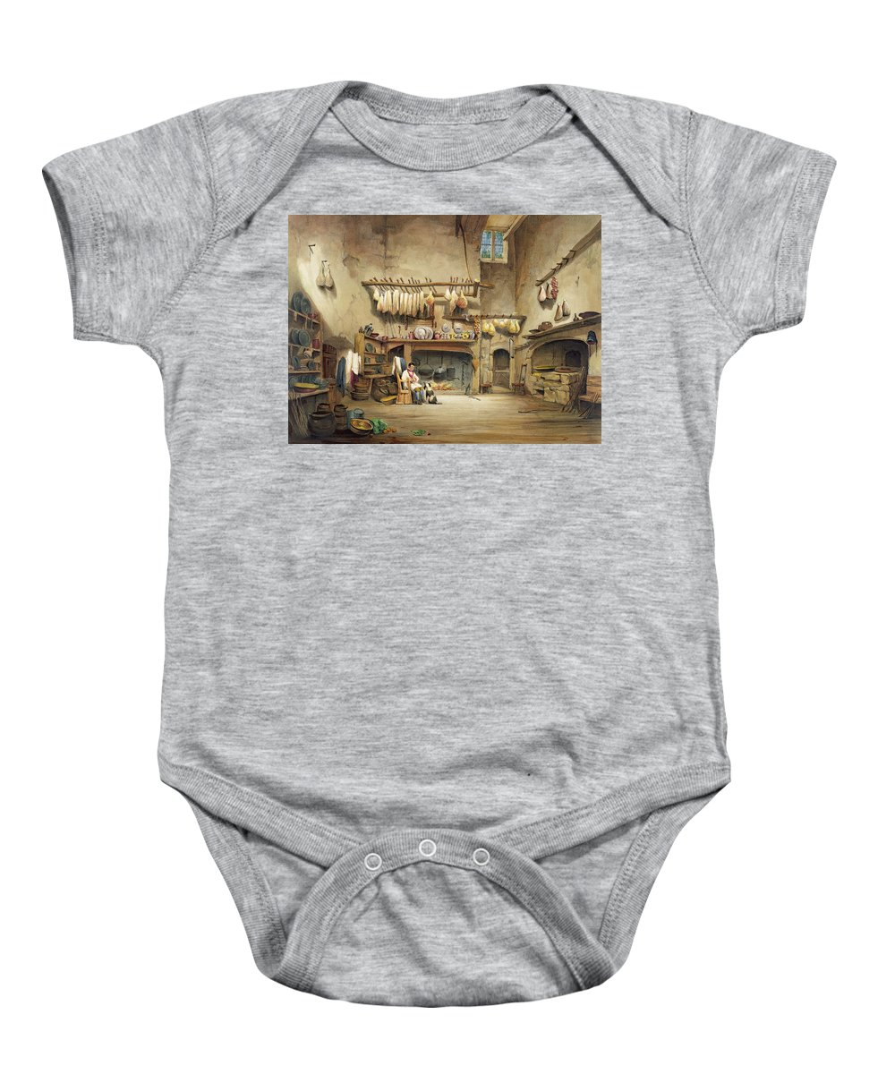 Cornish Stately Home Baby Onesie featuring the painting The Kitchen by English School