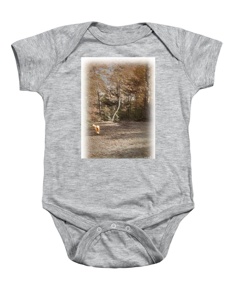 Labradoodle Baby Onesie featuring the photograph The Labradoodle On The Go by Sandra Clark