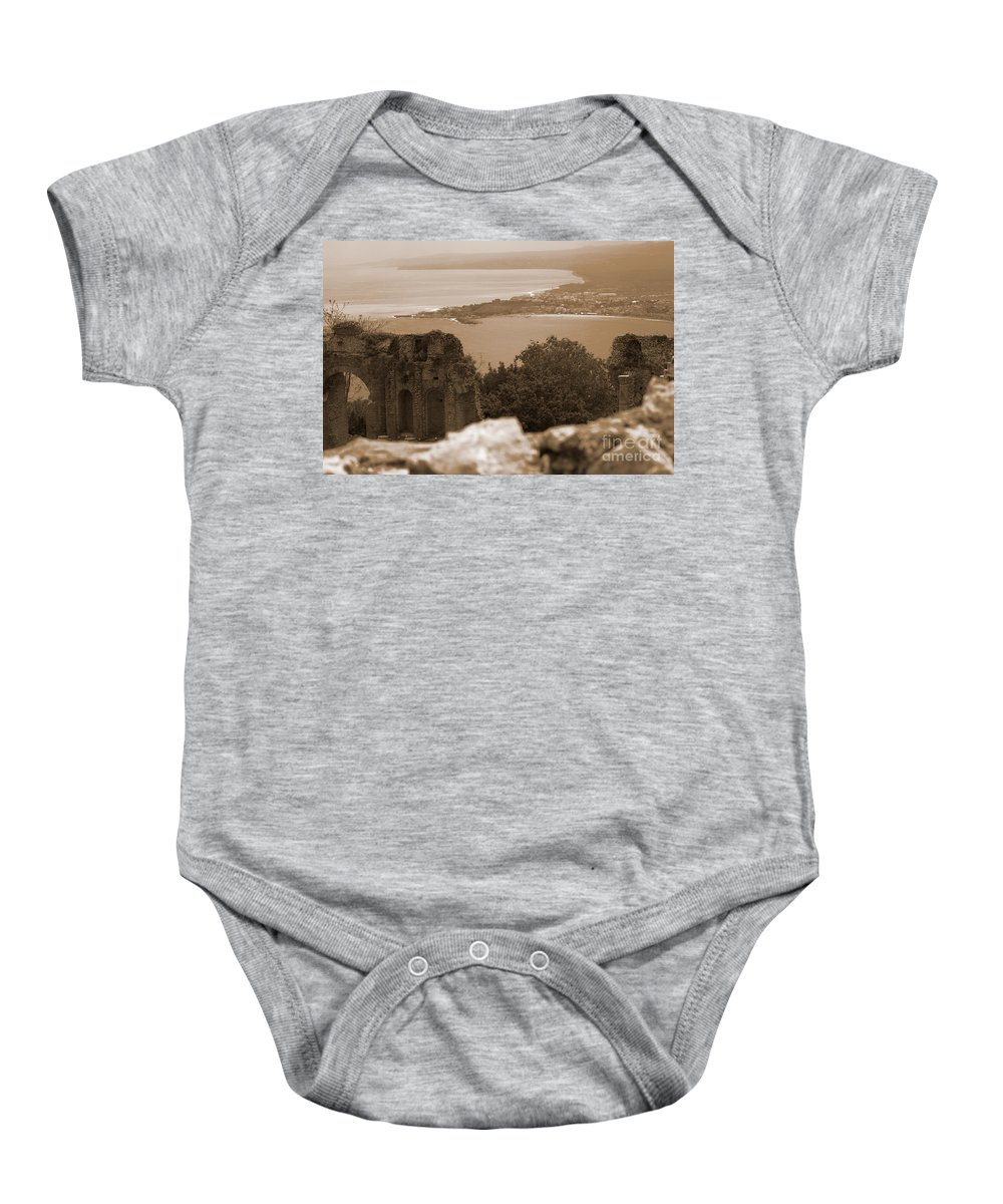 Taormina Baby Onesie featuring the photograph The Last Greek Vestige by Donato Iannuzzi