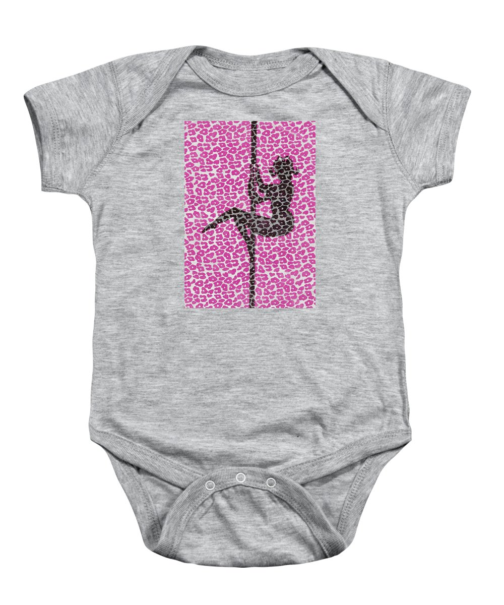 Fabric Baby Onesie featuring the drawing The Leopard Stripper by Nicole Burrell
