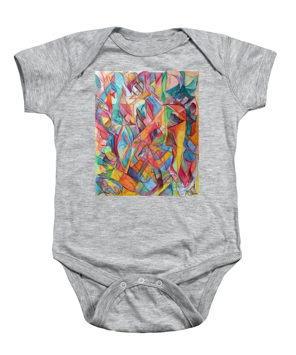 Torah Baby Onesie featuring the drawing The Letter Chet 2 by David Baruch Wolk