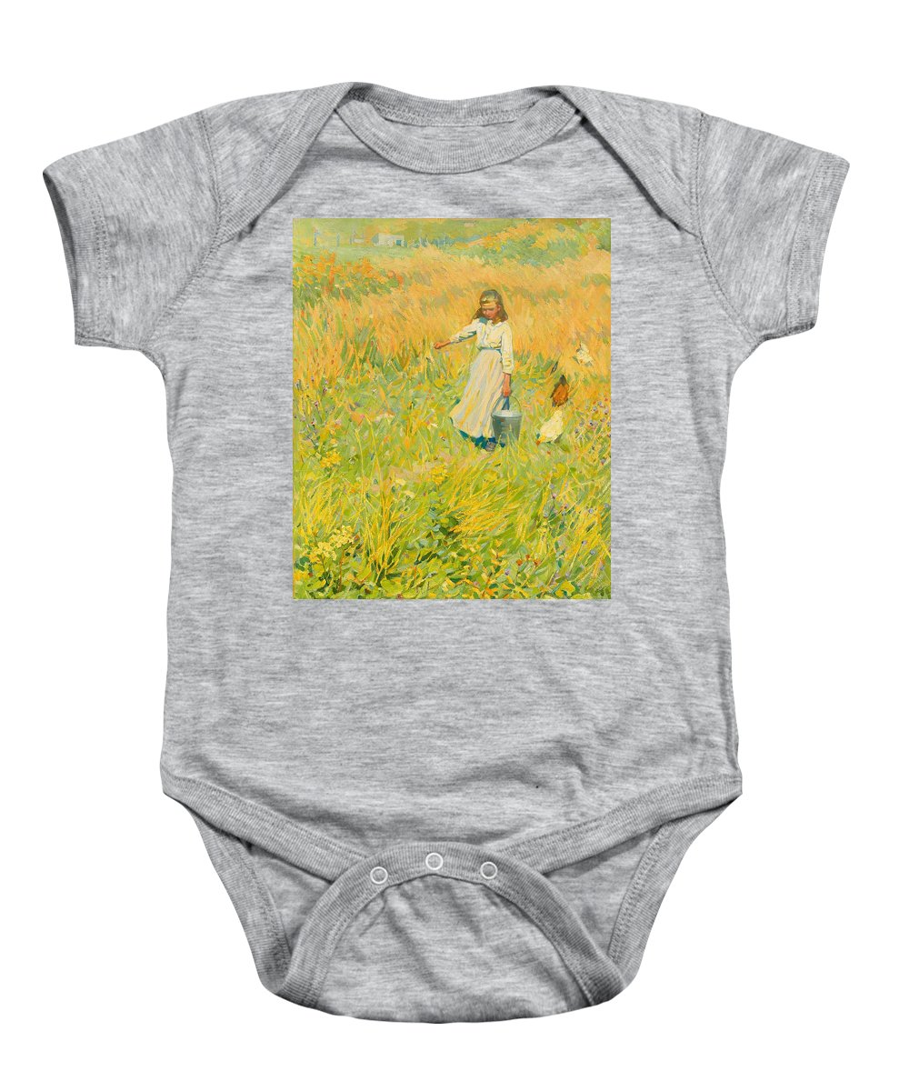 Painting Baby Onesie featuring the painting The Little Worker by Mountain Dreams