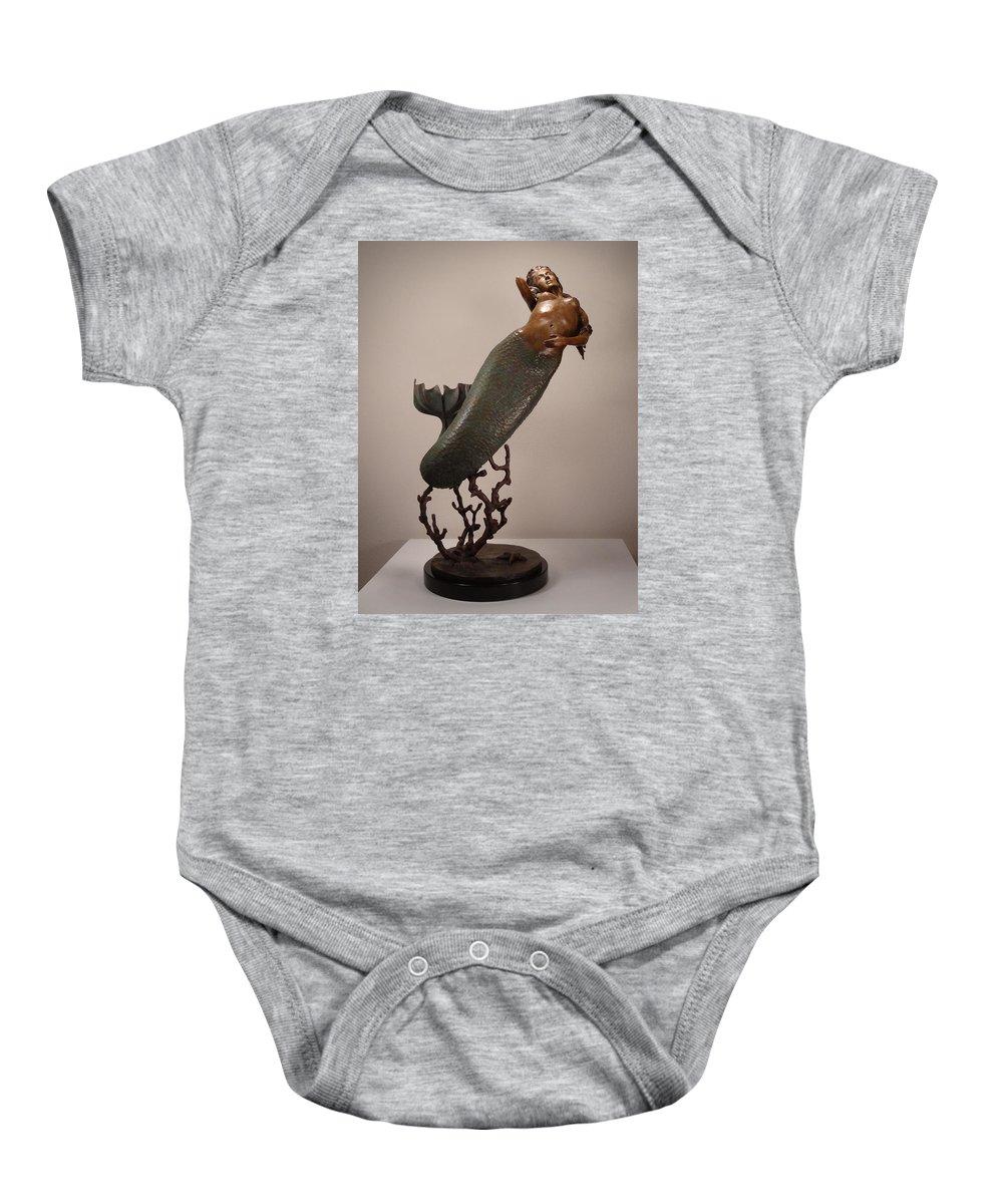 Mermaid Baby Onesie featuring the sculpture The Mermaid by Lisbeth Sabol