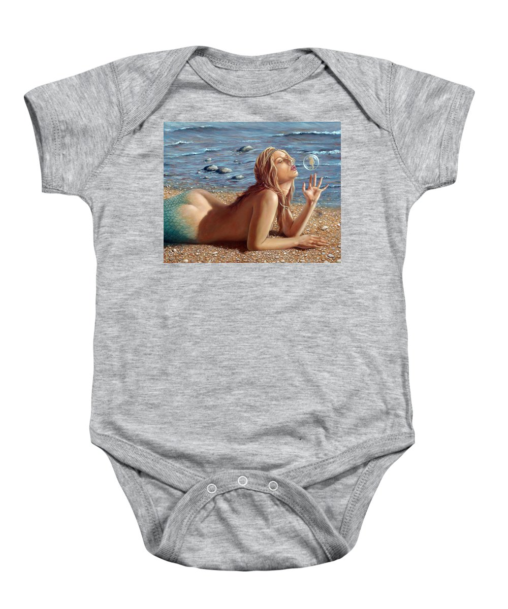 Seahorse Baby Onesie featuring the painting The Mermaids Friend by John Silver