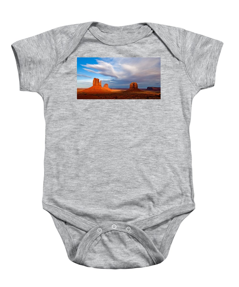 The Mittens Baby Onesie featuring the photograph The Mittens Magical Light by Peter Tellone