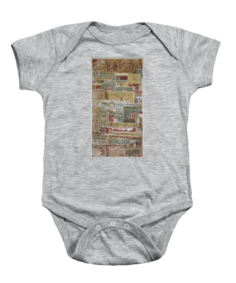 Religious Baby Onesie featuring the painting The Mountain Village by Ousama Lazkani
