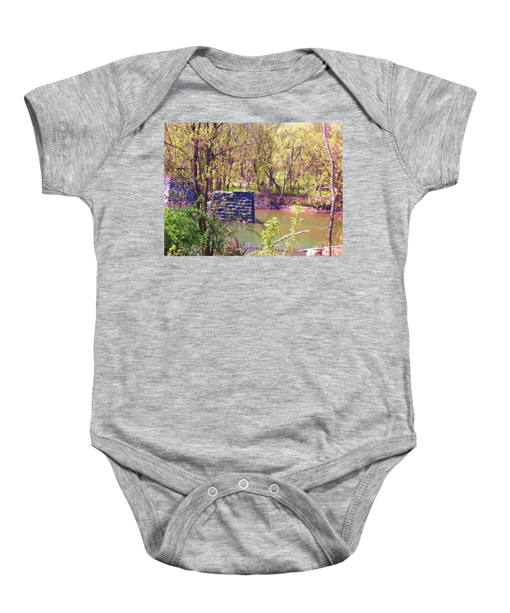 Catskill Creek Baby Onesie featuring the photograph The Once And Former Bridge by Ellen Levinson