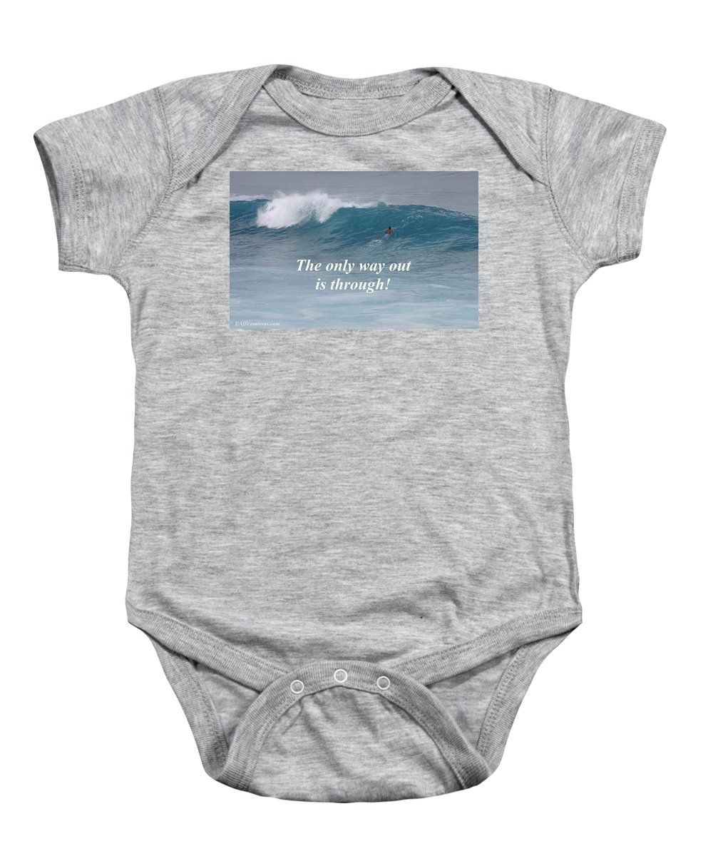 Surfer Baby Onesie featuring the photograph The Only Way Out by Pharaoh Martin