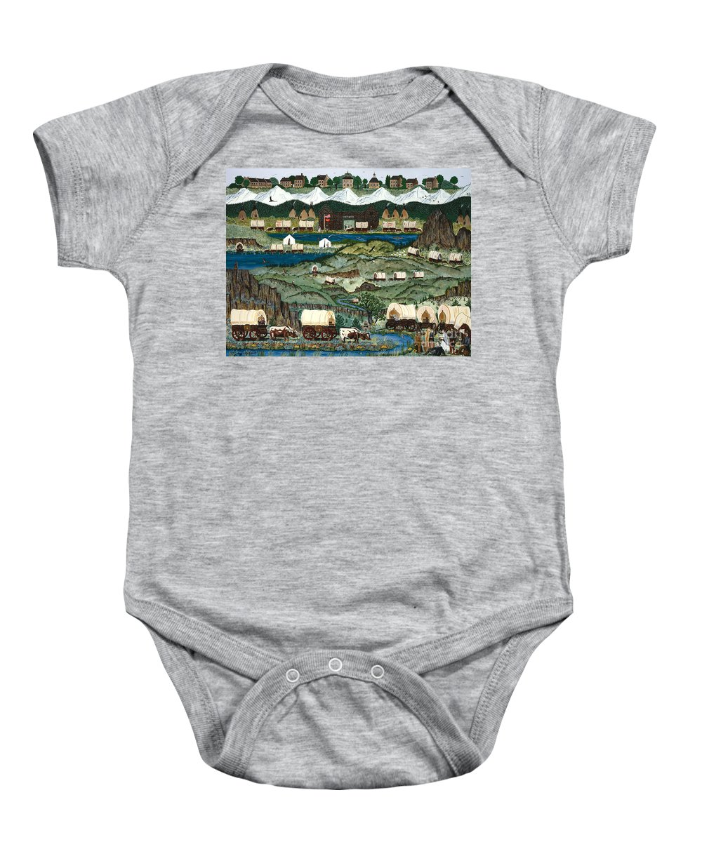 Oregon Trail Baby Onesie featuring the painting The Oregon Trail by Jennifer Lake