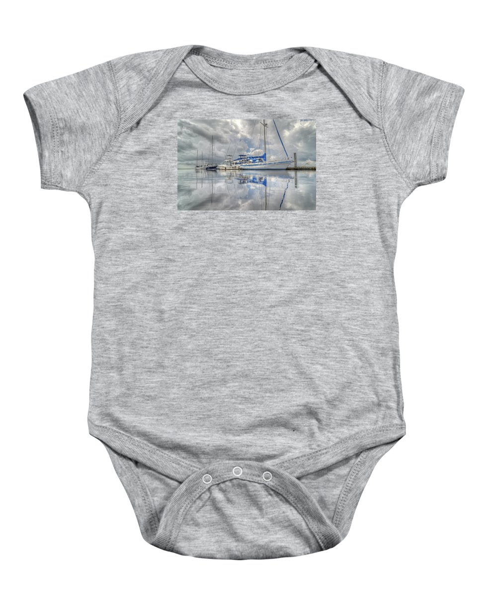 Sailboats Baby Onesie featuring the photograph The Outer Pier by John Adams