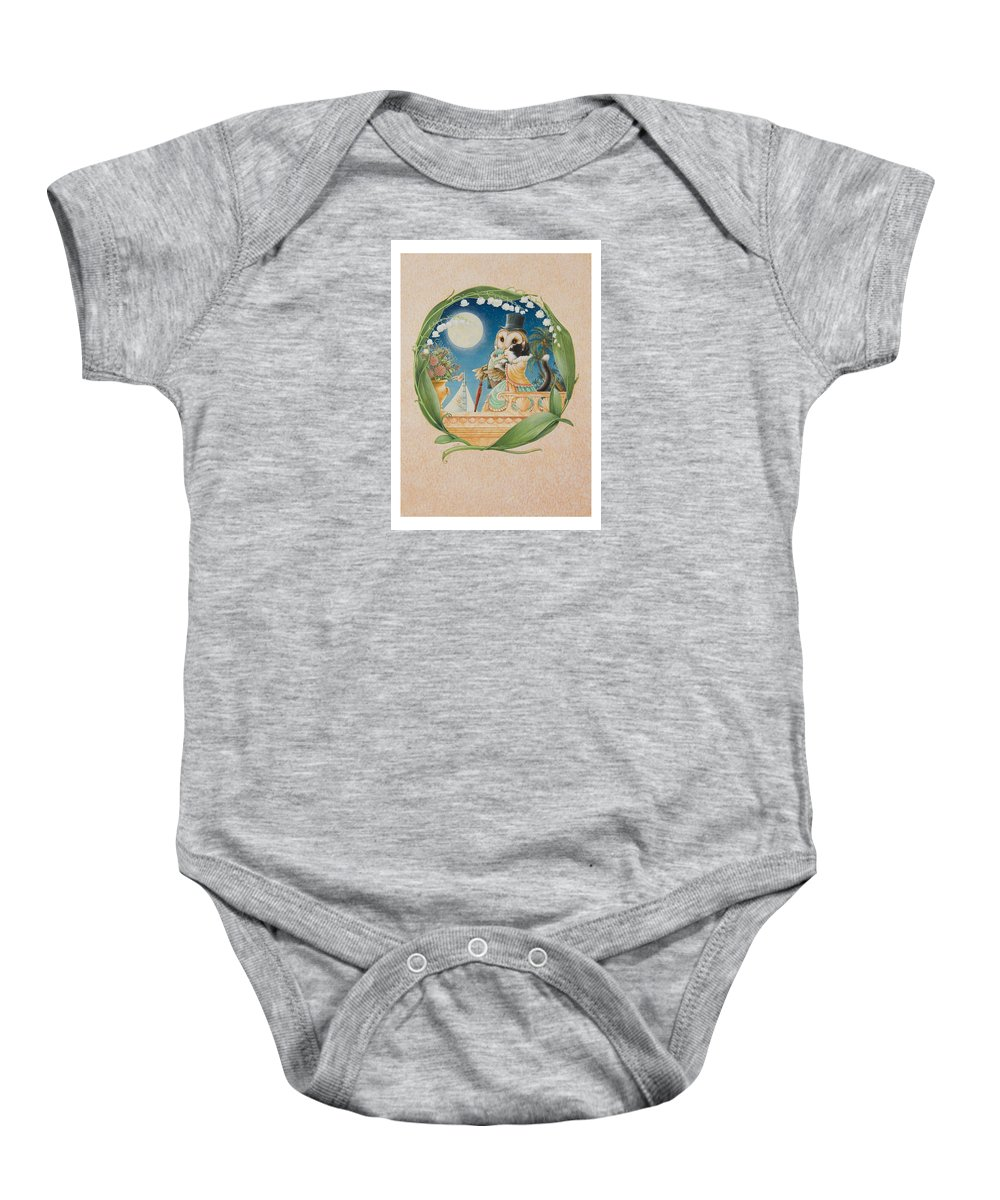 Cat Baby Onesie featuring the painting The Owl And The Pussycat by Lynn Bywaters