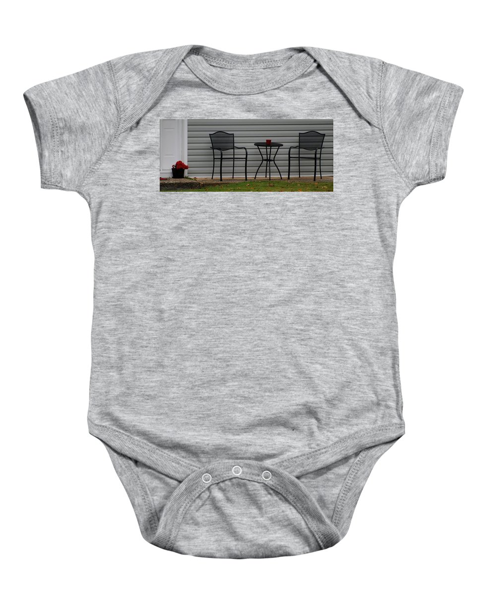 Macro Baby Onesie featuring the photograph The Patio In Living Color by Rob Hans