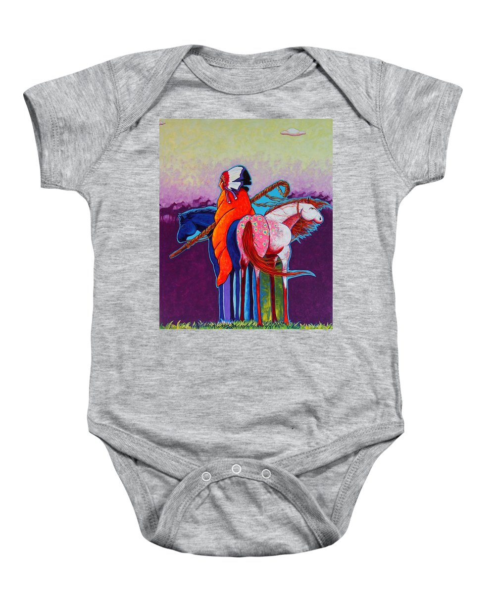 Native American Baby Onesie featuring the painting The Peacemakers Gift by Joe Triano