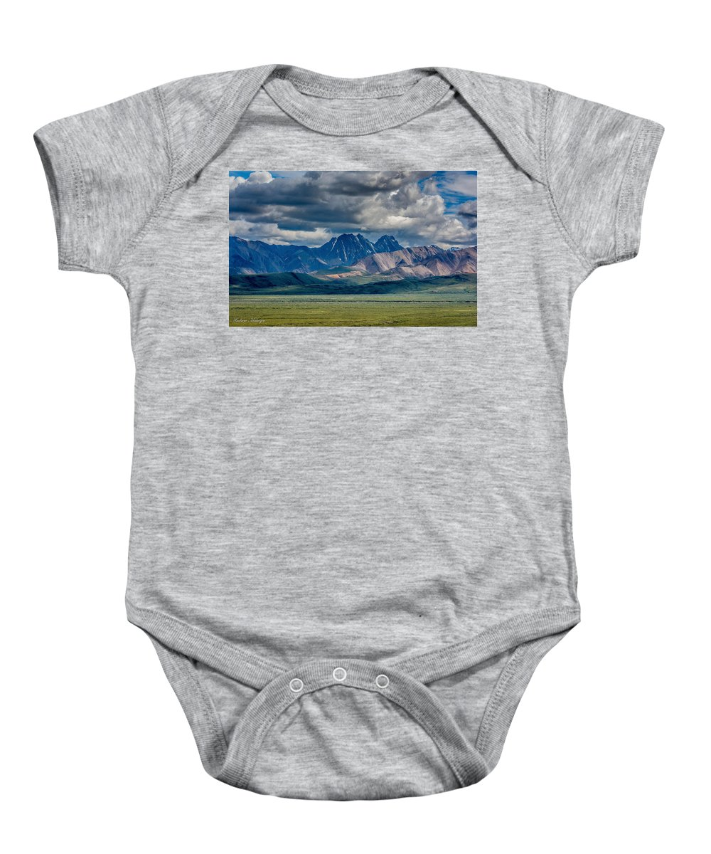 Mountain Baby Onesie featuring the photograph The Peaks by Andrew Matwijec