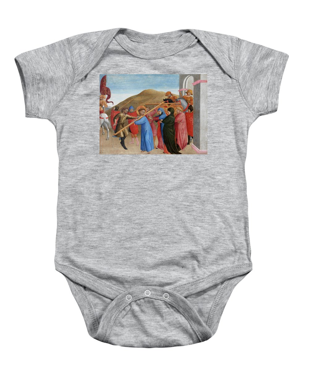 Procession; To; Calvary; Jesus; Christ; Jesus Christ; Carrying; Cross; Crucifix; Pain; Suffering; Passion; Crowd; Crowds; Disciple; Disciples; Support; Life; Christ; New; Testament; Christian; Christianity; Religion; Religious; Stylised; Italian; Early; Renaissance; Son Of God Baby Onesie featuring the painting The Procession To Calvary by Sassetta