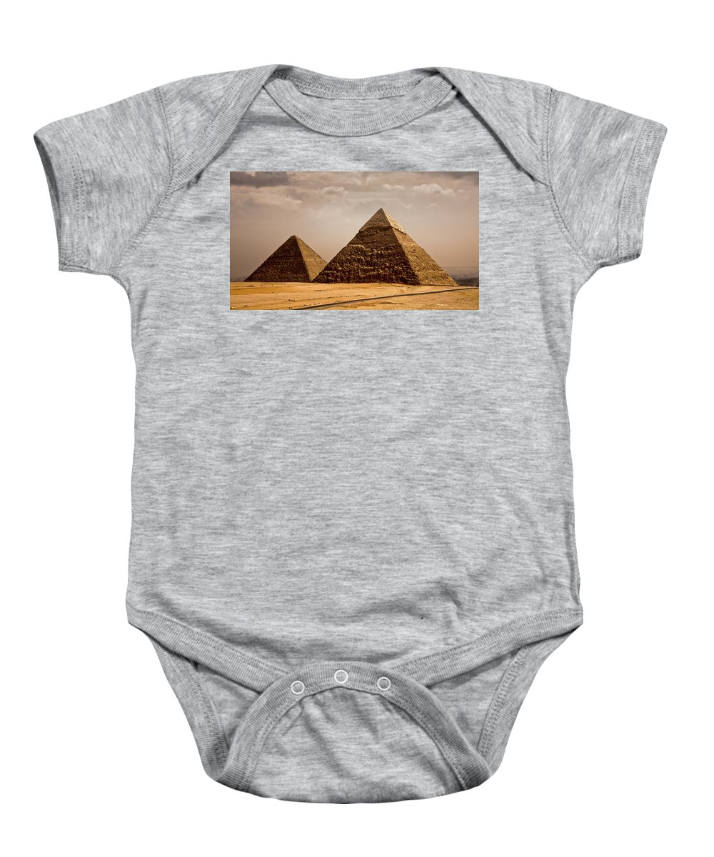Egypt Baby Onesie featuring the photograph The Pyramids Of Giza by Anthony Doudt
