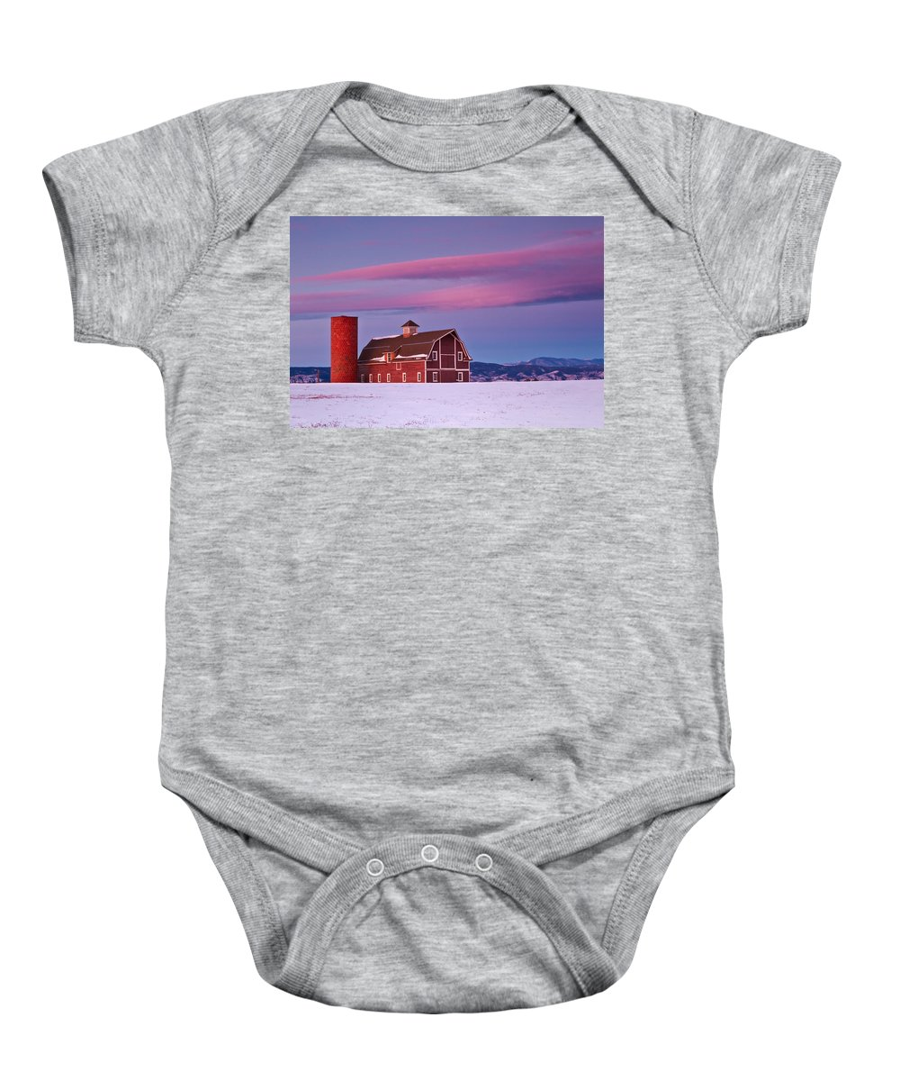 Barns Baby Onesie featuring the photograph The Red Barn by Ronda Kimbrow