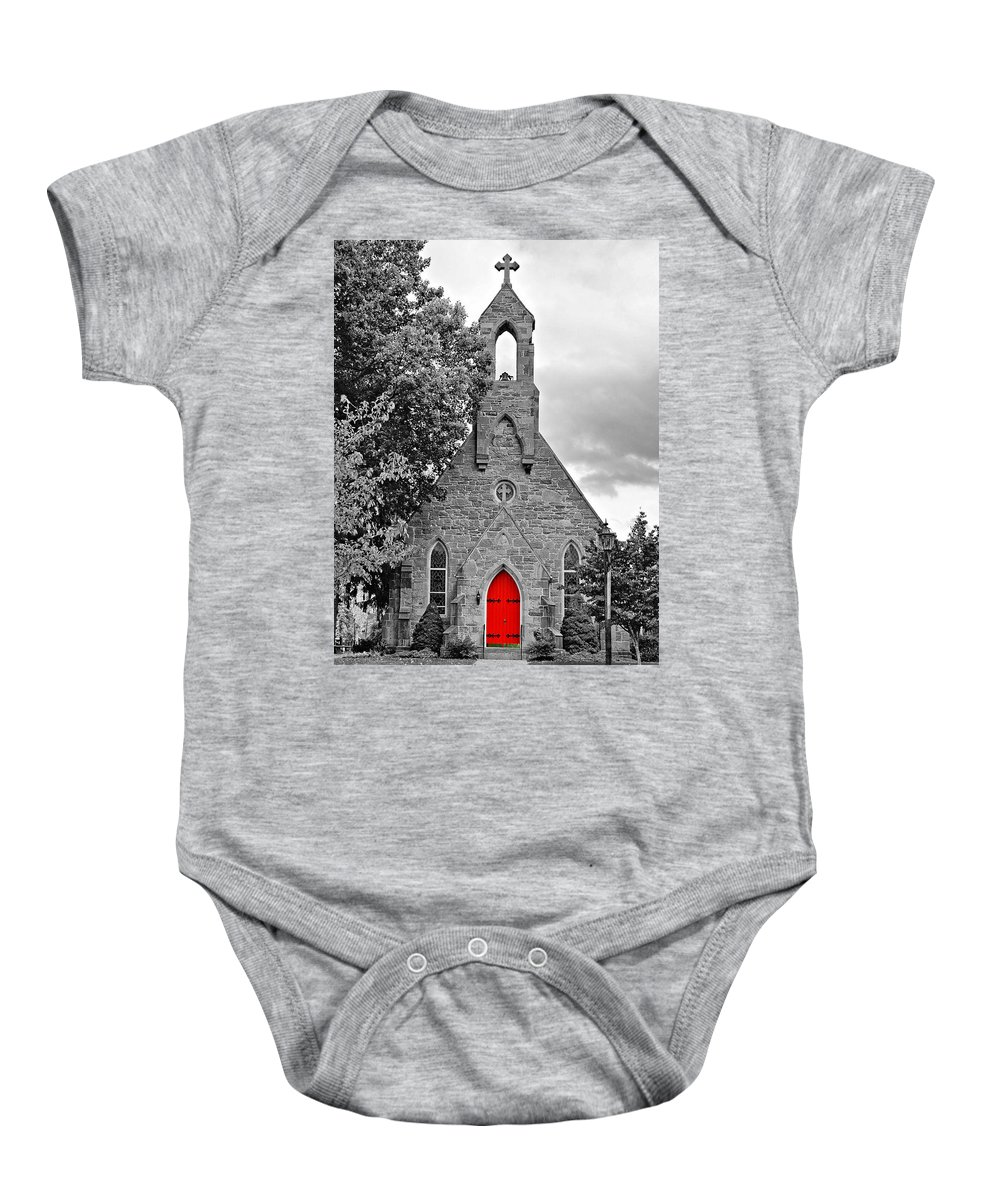 Pennsylvania Baby Onesie featuring the photograph The Red Door Monochrome by Steve Harrington