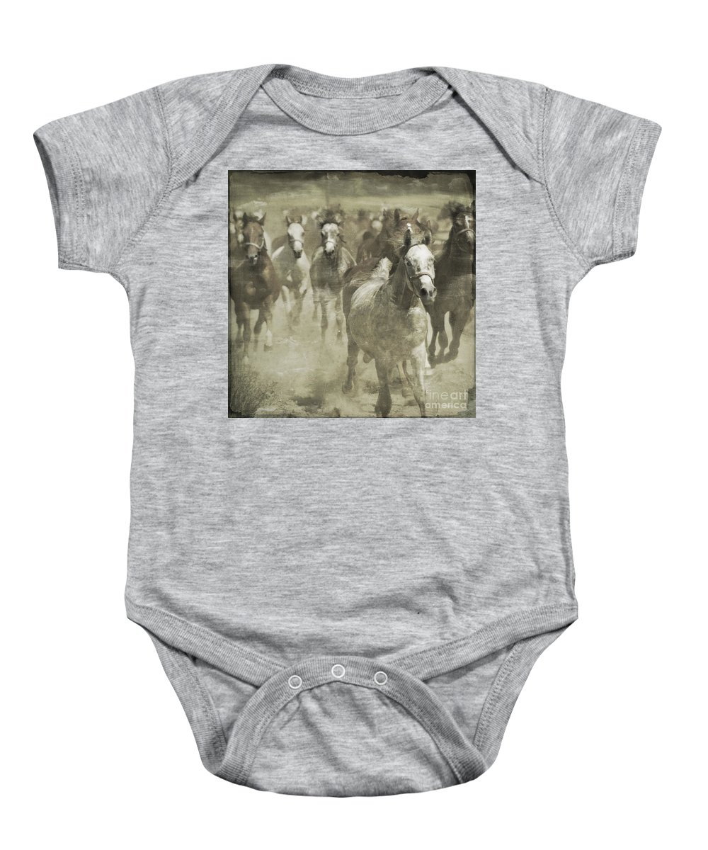 Horse Baby Onesie featuring the photograph The Run For Freedom by Angel Ciesniarska
