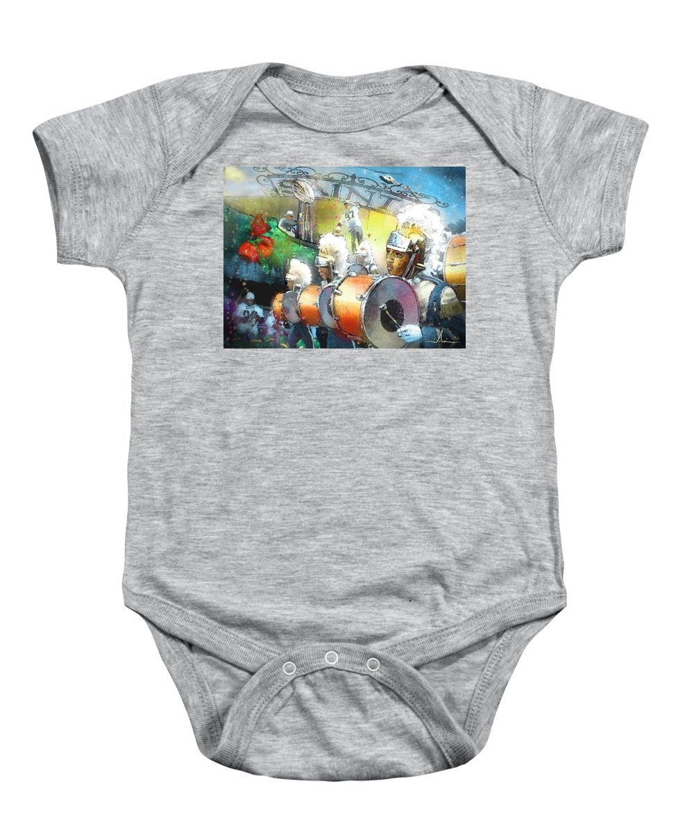 New Orleans Baby Onesie featuring the painting The Saints Parade In New Orleans 2010 01 by Miki De Goodaboom