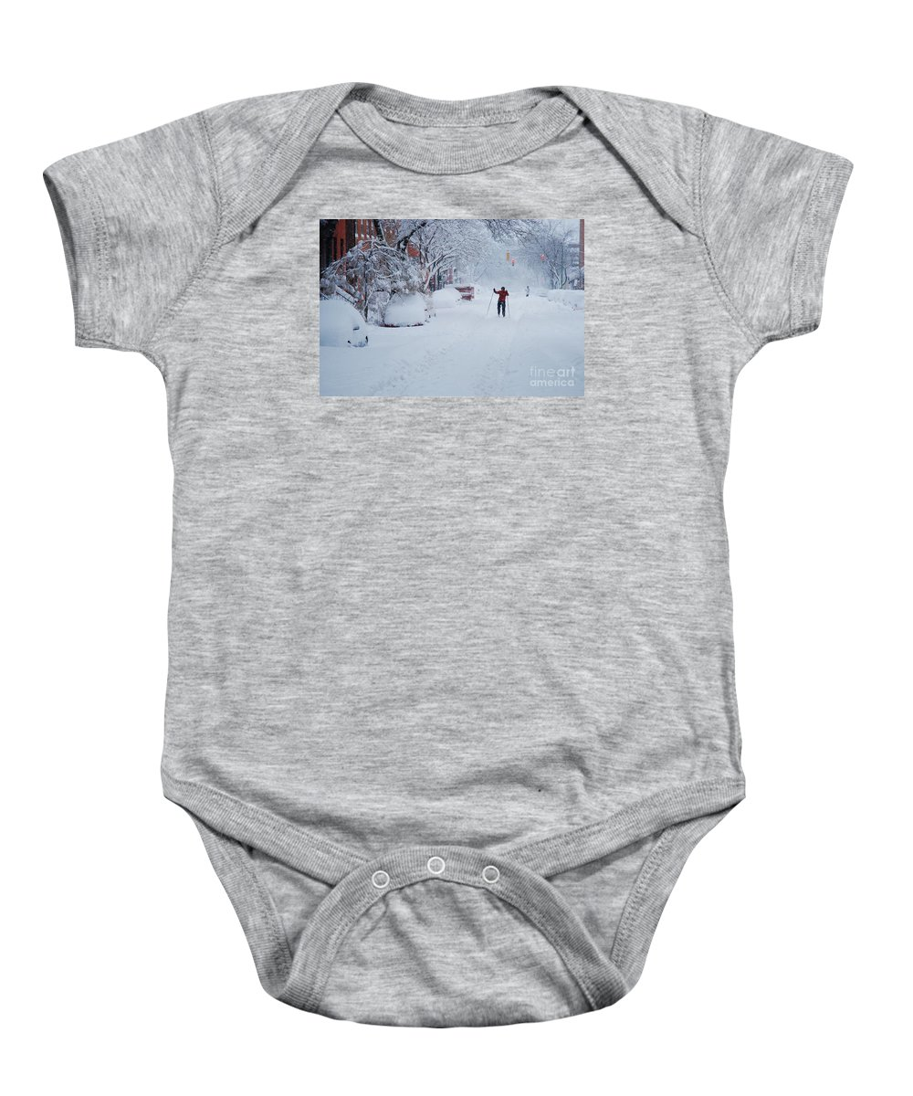 Candid Baby Onesie featuring the photograph The Smart Commuter by Marcus Dagan