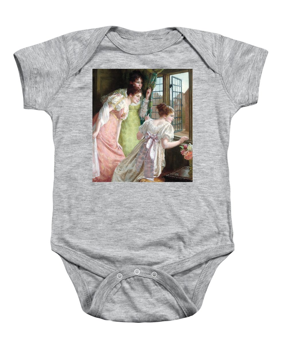 The Squires Arrival; Arrival; Squire; Suitor; Suitors; Courtship; Society Life; Female; Romance; Romantic; Excited; Excitement; Young; Girl; Girls; Regency; Georgian; 18th; Interior; Domestic; Window; Anticipation; The Future; Optimism; Youth; Waiting; Eager; Emotion; Emotions Baby Onesie featuring the painting The Squire S Arrival by Mary E Harding