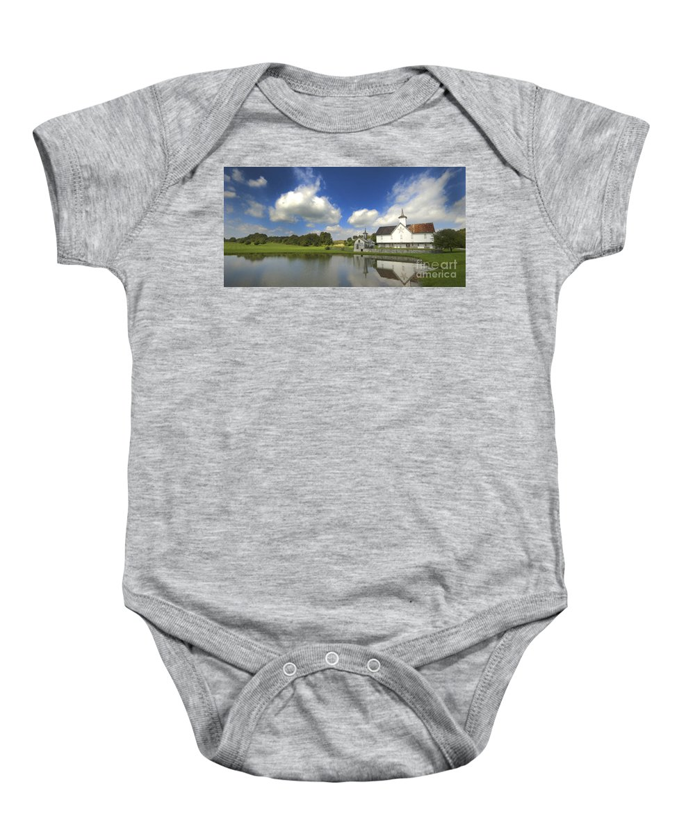 Barn Baby Onesie featuring the photograph The Star Barn After The Storm by Paul W Faust - Impressions of Light