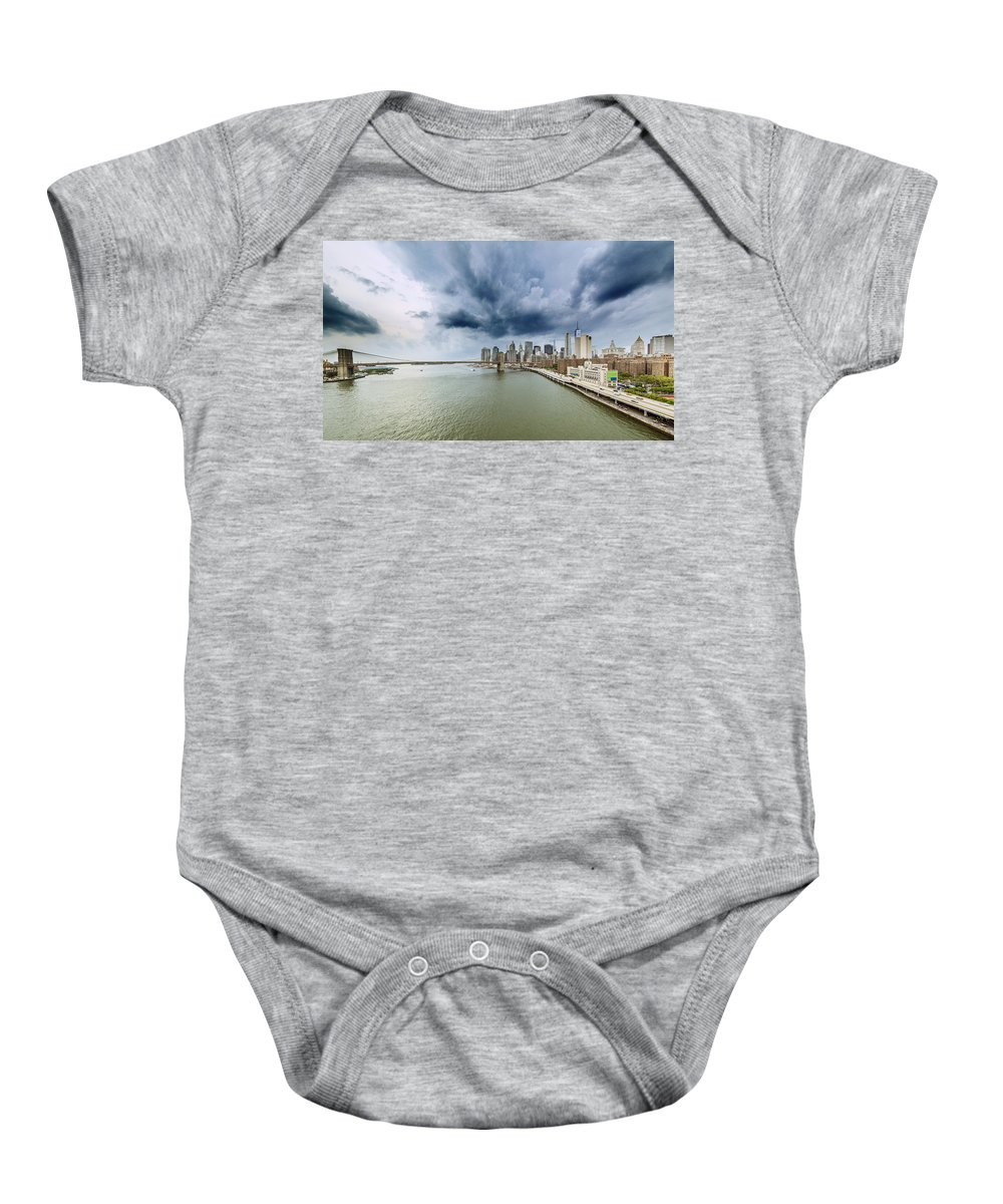 Manhattan Baby Onesie featuring the photograph The Storm Over Manhattan Downtown by Alex Potemkin