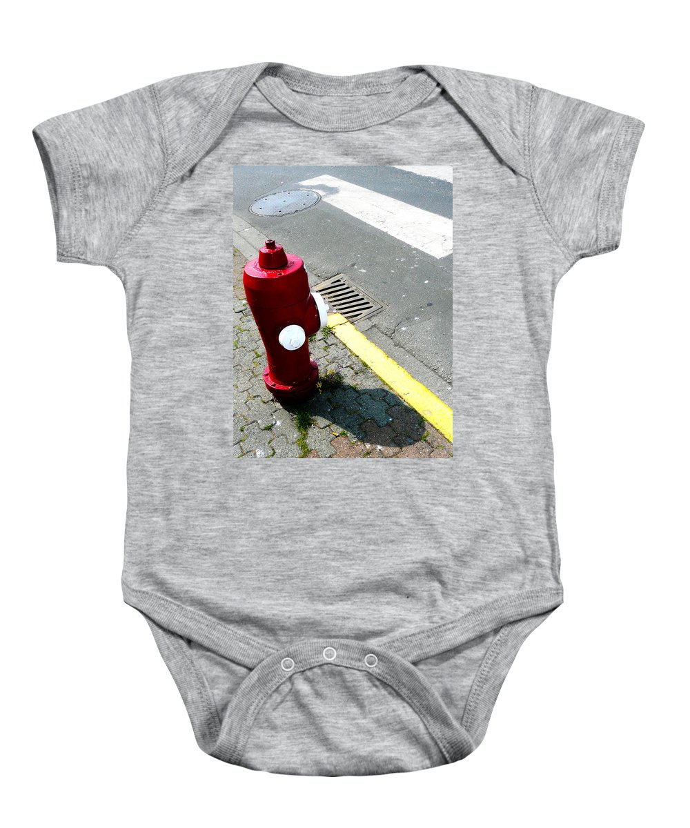 Abstract Baby Onesie featuring the photograph The Street Talks by The Artist Project