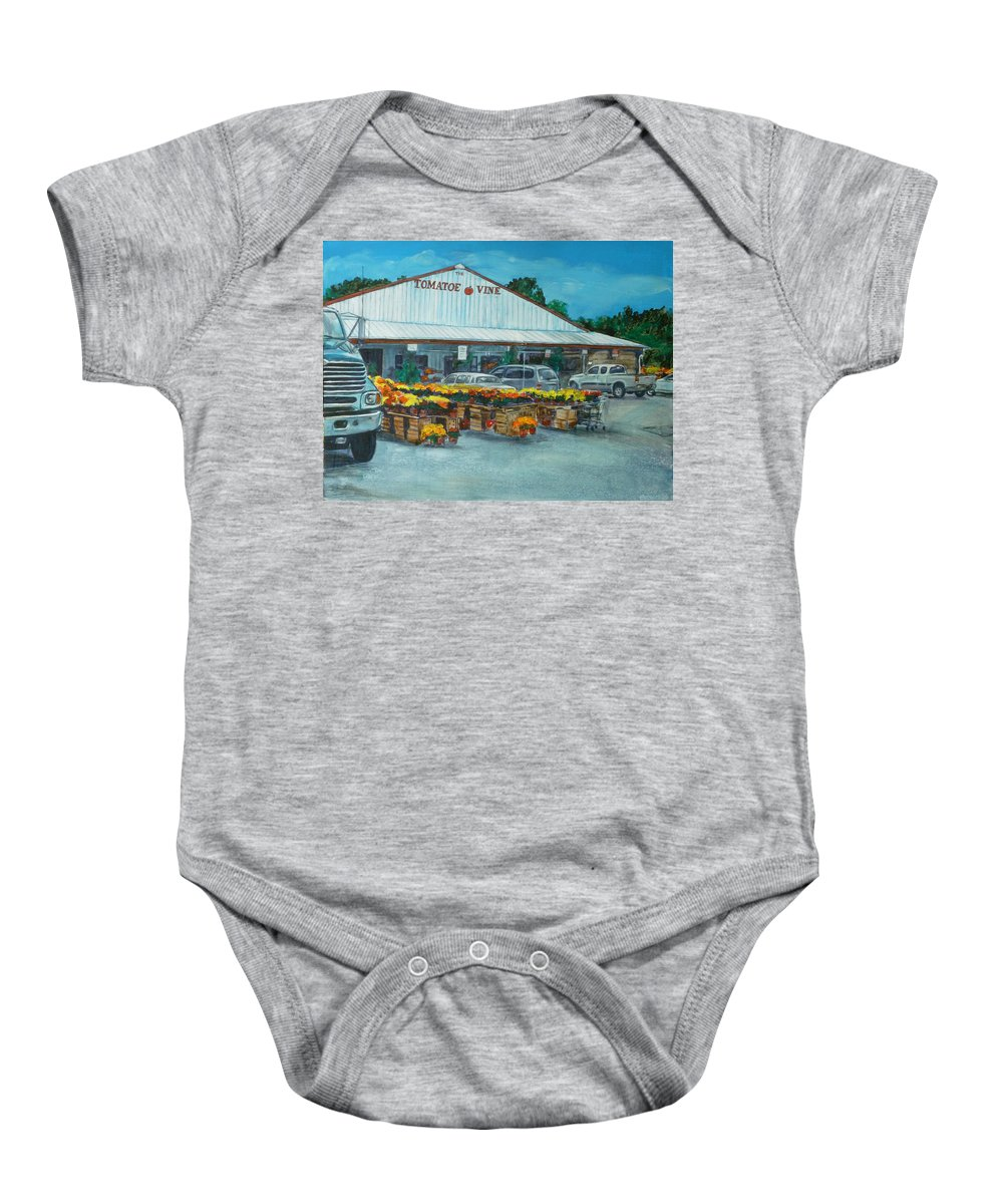 Vegetable Stand Baby Onesie featuring the painting The Tomatoe Vine by Bryan Bustard