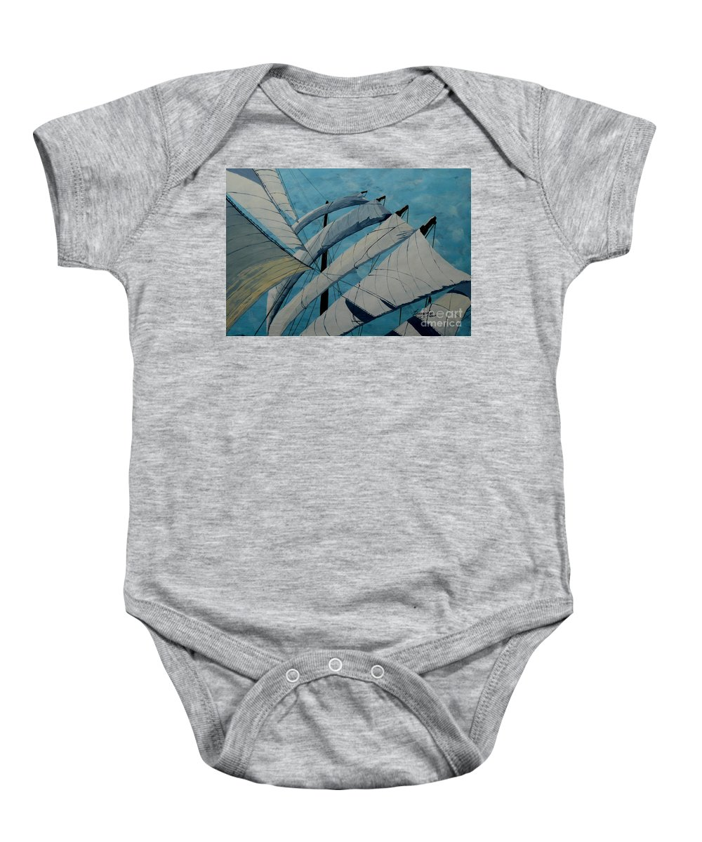 Sails Baby Onesie featuring the painting The Tower Of Power by Anthony Dunphy