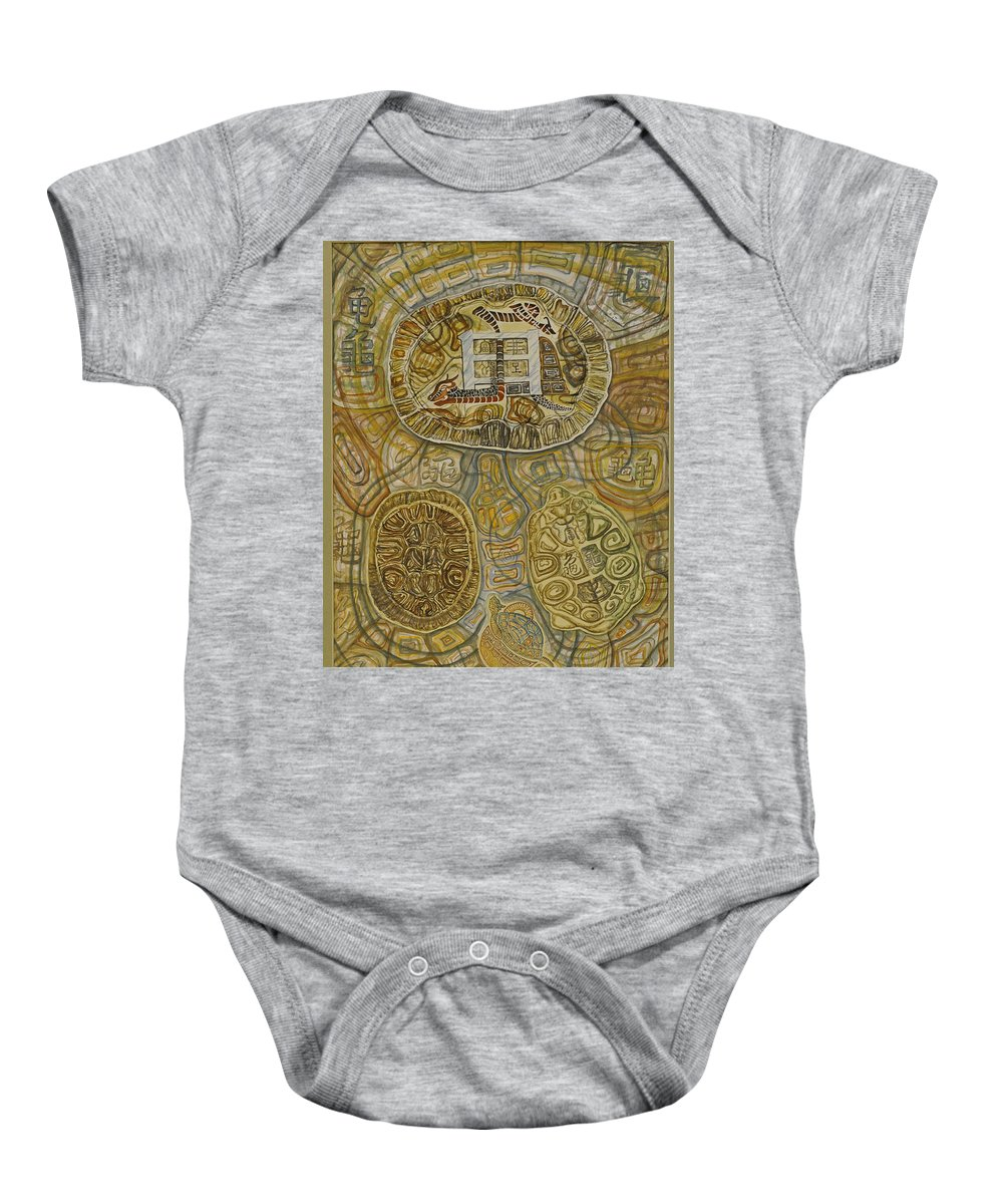 A Watercolors Painting Baby Onesie featuring the painting The Turtle Snake by Ousama Lazkani