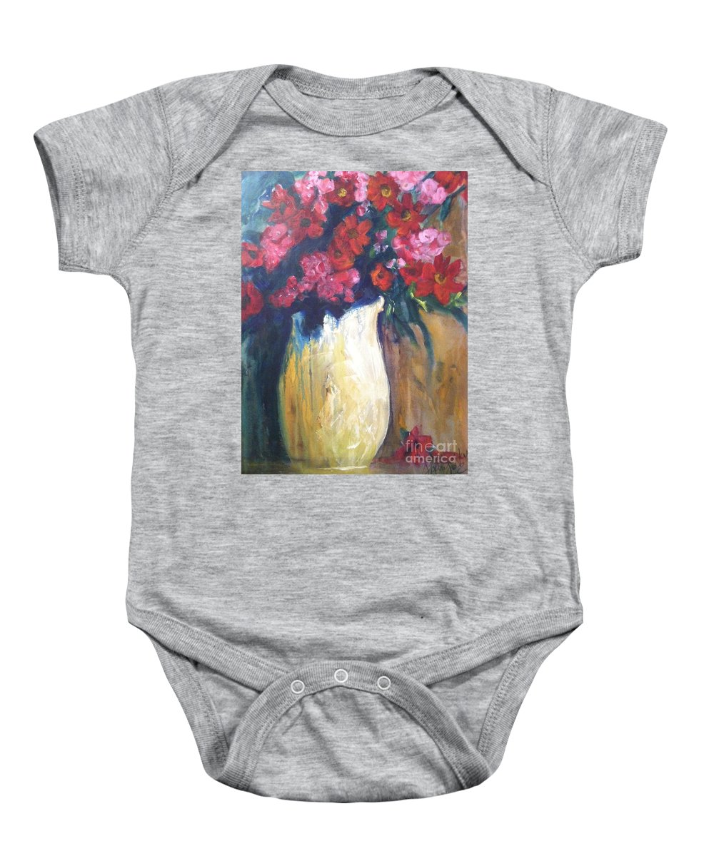 Orchards Baby Onesie featuring the painting The Vase by Sherry Harradence