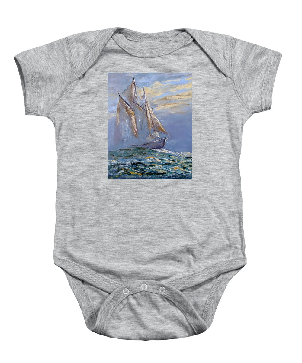Boat Ship Schooner Wanderer Sea Wave Ocean Dark Blue Fog Nature Greeting Cards Iphone Cases Galina Klupina Fine Art Baby Onesie featuring the painting The Wanderer by Galina Khlupina