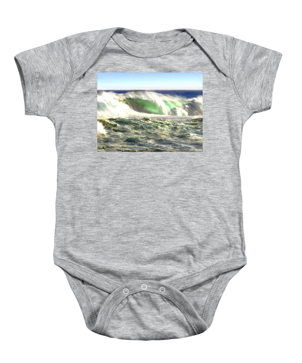 Ocean Baby Onesie featuring the painting The Wave by Elaine Plesser