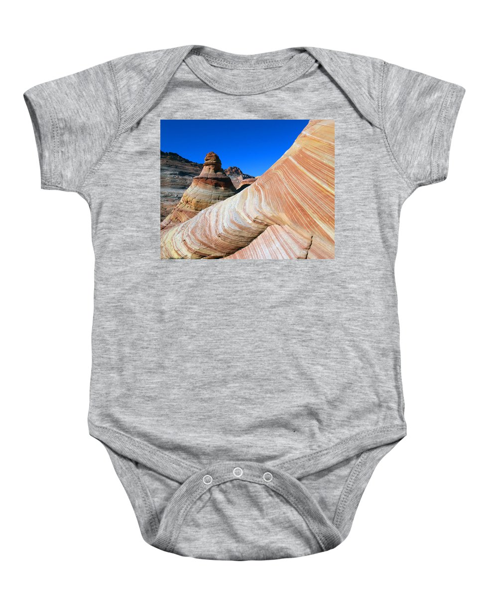 Landscape Baby Onesie featuring the photograph 'the Wave' North Coyote Buttes 10 by Jeff Brunton