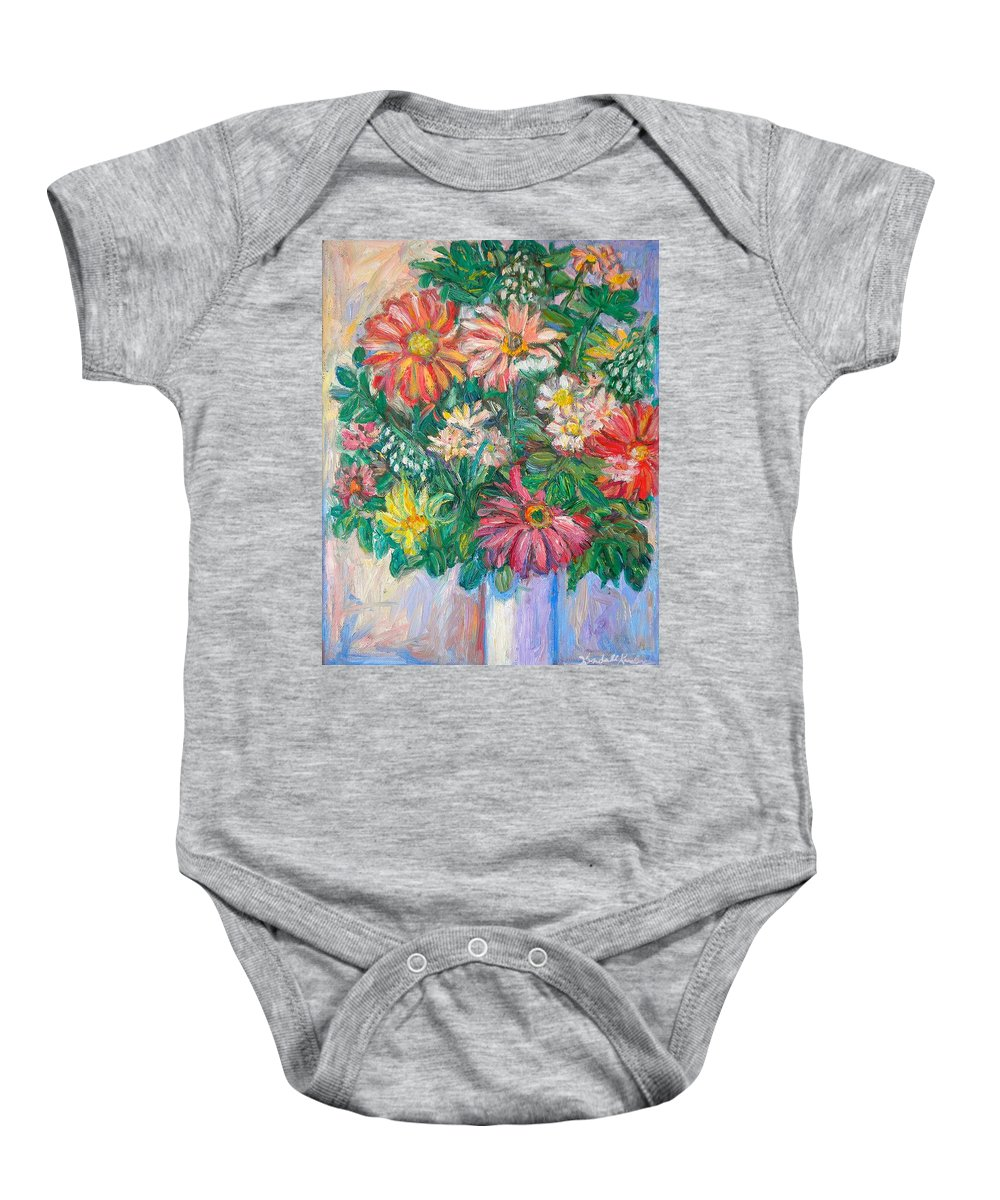 Still Life Baby Onesie featuring the painting The White Vase by Kendall Kessler