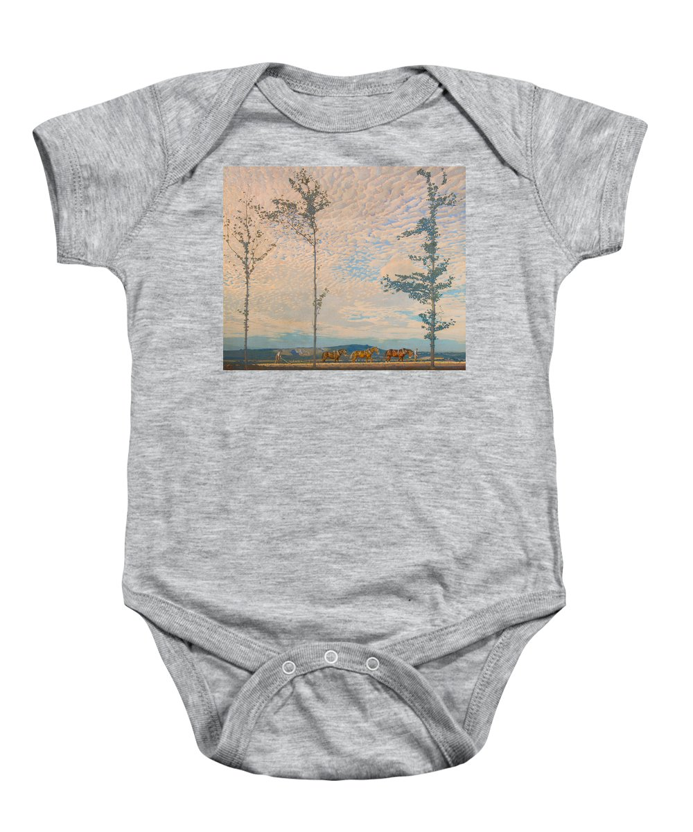 Landscape Baby Onesie featuring the painting The Wooden Plough by Edward Louis Lawrenson