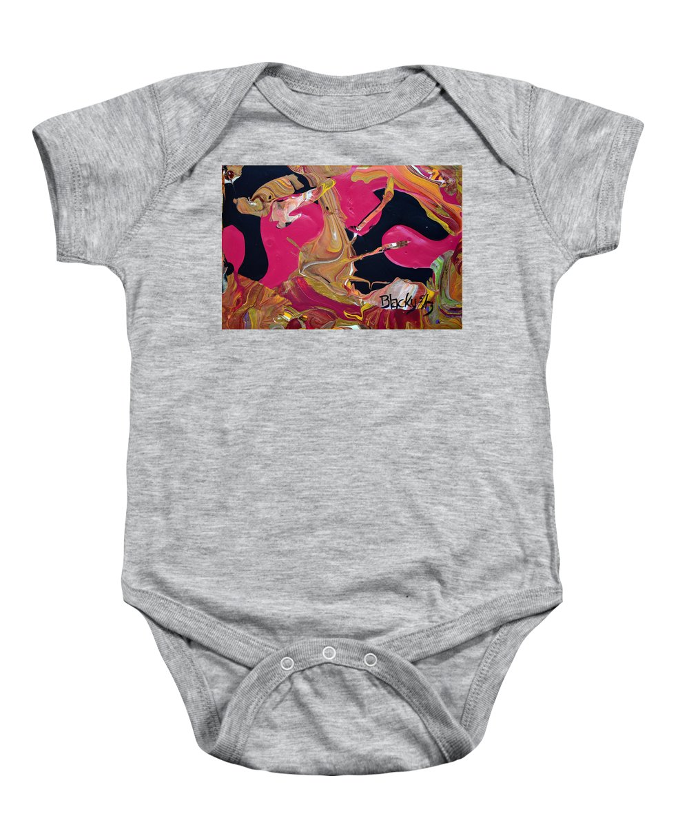 Modern Baby Onesie featuring the painting There's A Dog In My Purse by Donna Blackhall